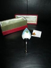 Li Bien Glass Wine Bottle Stopper Snowman Christmas Hand Painted Box Dated 2014