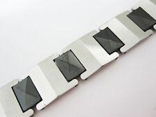 Promotion Silver & IP Black Tungsten Men Bracelet Magnetic Energy Stone TS153