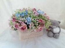 Silk Floral arrangement, Arrangement of roses and baby's breath, Nursery decor