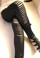Sexy Black Leather Look Small Cuts Leggings