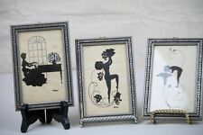 Diefenbach Silhouettes Framed Nude Nymphs Art Nouveau & 1 Female Playing Piano