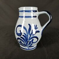 "Vintage Artist Signed 7"" Pitcher Blue Glazed Textured Rings Pottery Redware ?"