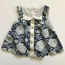 Janie And Jack 12-18 Months Baby Girl Blue Floral Sleeveless Blouse Top 12 18 Mo