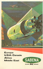 BOEING JET to Europe USA Canada... ~SABENA AIRLINES~ Great Luggage Label, 1960