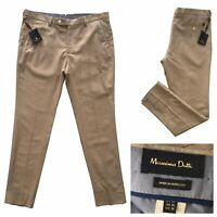 MASSIMO DUTTI Mens Beige Textured Cotton Linen Blend Chino Trousers Size 36W NEW
