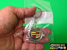 CADILLAC KEY CHAIN ATS SRX ELR XLR XTS METAL KEY RING WREATH SHIELD EMBLEM NEW