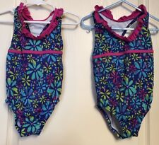 Girls Speedo One Piece Size 5 Swim Suit Blue Yellow Pink EUC