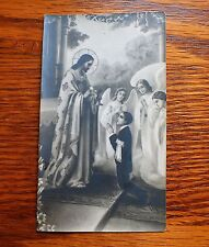 ANTIQUE BLACK & WHITE NEGATIVE PHOTO HOLY CARD JESUS GIVE COMMUNION TO YOUNG BOY