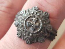 Very rare intact beautiful Viking silver/bronze ring Please read descriptionL89r