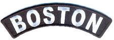"BOSTON USA City White on Black 4"" x 1"" QUALITY Rocker Biker Vest Patch PAT-2736"