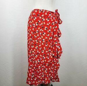 Faithfull The Brand Anthropologie Celeste Wrap Skirt S Red Floral Midi NEW