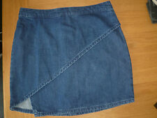 TOPSHOP W28 UK10 LADIES BLUE STRETCH DENIM CROSS OVER WRAP STYLE JEAN SKIRT VGC