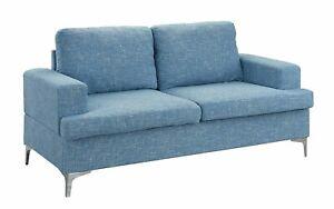 Mid-Century Modern Linen Fabric Sofa Couch Love Seat (Light Blue)