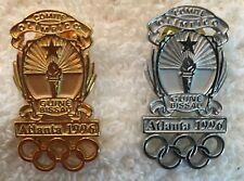 Atlanta 1996 Guinea Bissau Gold and Silver NOC Athlete's Olympic Pins