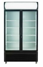 2 Door 1000l Commercial Upright Glass Display Drinks and Storage Fridge
