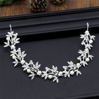 Silver Bendable Pearl Crystal Bridal Hair Vine Wedding Headband Hair AccessorieH