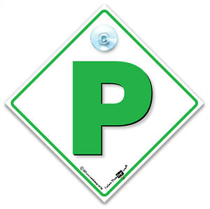 P Plate Suction Cup Car Sign, New Driver Car Sign, Green P-Plate Advisory Sign