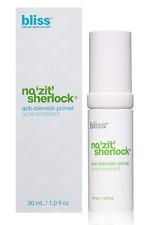 BLISS NO ZIT SHERLOCK ANTI- BLEMISH PRIMER 1 FL.OZ (30ml) New in Box $48