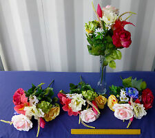 """18""""Mixed Satin Rose Tiger Lily Poppy Hydr Bush 12 Stem Artificial FREE SHIPPING!"""