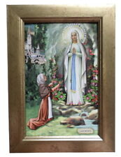 More details for beautifully framed our lady of lourdes blessed virgin mary roman catholic icon