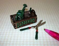 """Miniature """"Laser Creations"""" Painted """"GARDENING"""" Tote w/Tools: DOLLHOUSE 1:12"""