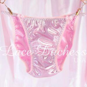 Sissy Panties Baby pink metallic satin foil string bikini sissy mens Underwear