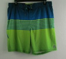 ZEROXPOSUR Men's Green Blue Comfort Liner Swim Shorts Trunks Swimsuit XL (G-1)