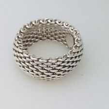 Size 5 Tiffany & Co Sterling Silver Somerset Mesh Weave Flexible Dome Ring