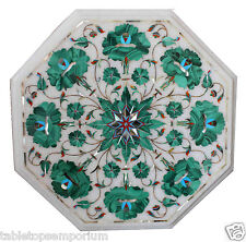 """12"""" Marble Coffee Side Table Top Malachite Inlay Marquetry Christmas Gift Decor"""