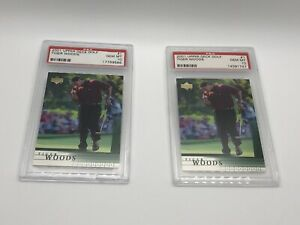 2001 Upper Deck Tiger Woods Rookie Golf Card #1 RC PSA 10 Gem Mint (Lot of 2)