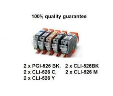 10x PGI-525BK,PGI525,Cli526 ink Cartridges for Canon iP4950 MG5250/6150 MX885