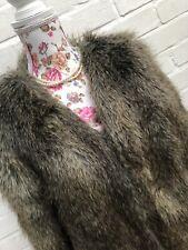 H&M Faux Brown Teddy Fur Shaggy Coat Blogger Size 8 EUR 38