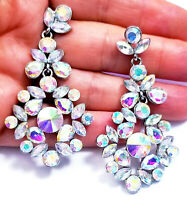 Chandelier Earrings Rhinestone Crystal 3 in AB Iridescent