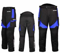 Motorradhose wasserdichte Textilhose BLAU Protektoren/Taschen Gr. XS - 6XL