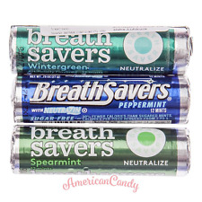 6x Breathsavers Wintergreen Lutschbonbons USA sans Sucre 3 Sorten (6,34 €/ 100g