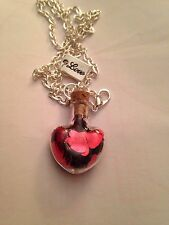 """Glass Love Heart Bottle Vial With Red Confetti Hearts Necklace 24"""""""