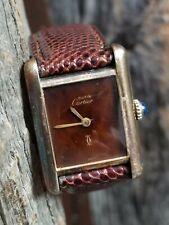 Authentic Must De Cartier 18k Gold on 925 Manual Wind 78-1 Tank Watch PLUS Strap