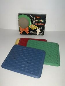 Vintage Rubbermaid KAR RUGS Set of 4 Rubber Coasters in Original Box ADVERTISING
