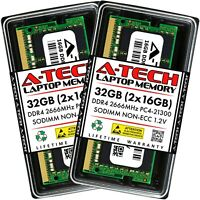 A-Tech 32GB 2x 16GB PC4-21300 Laptop SODIMM 260-Pin DDR4 2666 MHz Memory RAM Kit