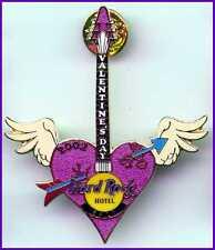 Hard Rock Hotel BALI 2002 VALENTINE'S DAY PIN Heart GUITAR Wings & Arrow #11337