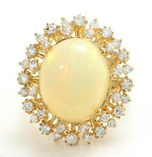8.75 Carat Natural Ethiopian Opal and Diamonds 14K Solid Yellow Gold Women Ring