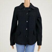 Merona Wool Blend Button Front Blazer Coat Jacket SMALL Black Fuzzy Felted Wool