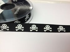 2 METRES BLACK WHITE SKULL CROSSBONES HALLOWEEN CARD MAKING CRAFT EMBELLISHMENT