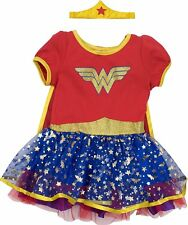 Wonder Woman Toddler Girls' Costume Dress with Gold Tiara Headband and Cape, Red