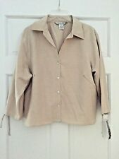 John Paul Richard UNIFORM Beige Silk Blend Blouse Size Large