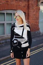 KAREN MILLEN new black white beige fringe knit jumper top small 8 10 12 rrp £140