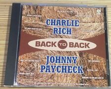 Back To Back - Charlie Rich - Johnny Paycheck - RARE VGC CD - FAST UK POST