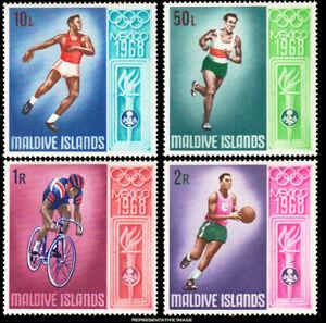 Maldive Islands Scott 288 10l, 50l, 1R and 2R 1968 Olympic Games.