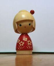 "Japanese Creative Kokeshi Wooden Doll by Masae Fujikawa ""Osanpo"" Made In Japan"