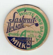 WHITE PINE DAIRY SASHMIT & NELSON Winston Salem North Carolina milk bottle cap